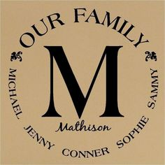 195062227581514445 Custom Our Family Monogram Circle Vinyl Lettering Wall Decal Great Wedding Gift. $16.99, via Etsy.