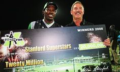 Future jailbird Stanford gives a $20,000,000 cheque to WI for winning *one* T20 game. 2008.