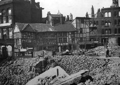 Damage around The Shambles after the bombing of Manchester in the Second World War