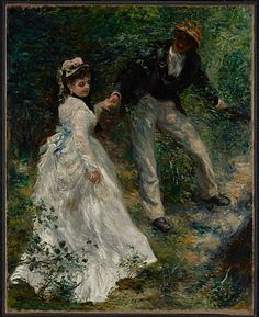 La Promenade.   Pierre-Auguste Renoir  French, Paris, 1870   What Pierre-August Renoir himself titled this painting is unknown, but La Promenade is in part an homage to earlier artists that he greatly admired. Renoir had spent the previous summer painting outdoors with Claude Monet, who encouraged him to move toward a lighter, more luminous palette and to indulge his penchant for luscious, feathery brushwork.