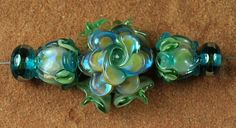 Glass Lampwork Beads Goddess Aqua Opal Roses SRA by carolynsbeads, $18.00