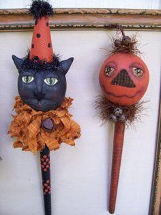 CAT Pumpkin Doll Shaker Fall Halloween Primitive E Pattern Folk ...