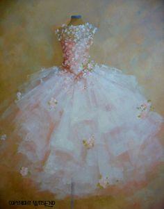 """LA DANSE DES FLEURS"" (The Dance of the Flowers), vintage ballet Tutu painting original ooak canvas still life fashion vintage ballerina art FREE usa shipping. by WitsEnd via Etsy."