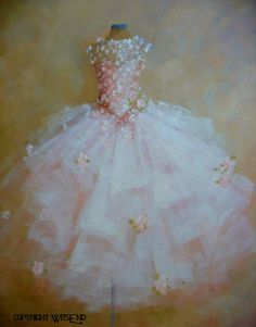 """LA DANSE DES FLEURS"" (The Dance of the Flowers), vintage ballet Tutu painting original ooak canvas still life fashion vintage ballerina art  FREE usa shipping. by WitsEnd via Etsy.  SOLD"