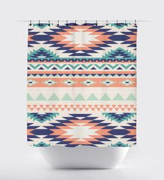 Coral and turquoise aztec fabric shower curtain by PrintArtShoppe