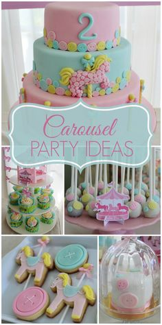 A pretty pink Carousel girl birthday party with a cake, cookies, and cake pops!  See more party ideas at CatchMyParty.com!