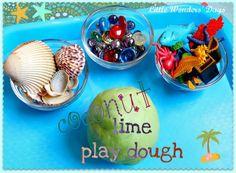 Homemade play dough, coconut lime beach theme! summer bucket ideas for kids