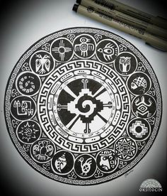 A tattoo of Hunab Ku, the Mayan symbol for unity, balance ...