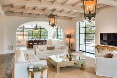 Spanish Colonial Revival, Portella windows and doors, casement windows, whitewashed beams, antique french oak floors