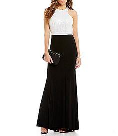 B. Darlin High Neck Sequin Bodice Open-Back Long Dress