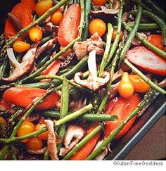 Here's a great no-worry dinner. Build your own recipe. Cut up whatever fresh veggies you have on hand, throw them in a roasting pan and toss with a little olive oil and sea salt.