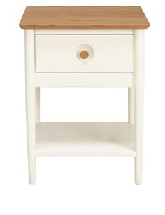 hampden bedside table with shelf white