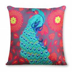 Kuheli Floral Peacock Dance Cushion Cover : This Kuheli Cushion Cover shows the breathtaking grace, hues and charm of the pretty peacock. The back of the cover is in purple colour.