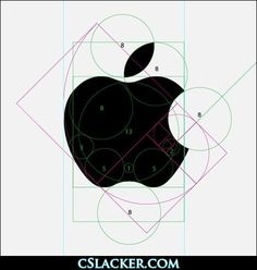 The makeup of the Apple, Inc. logo. Originally drawn freehand by Rob Janoff in 1977 to launch the Apple II, the re-design from Landor & Associates in the early 80s made it more like the logo we know today, making the shapes much more symmetrical and geometric.