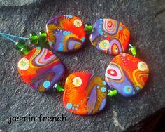 jasmin french ' indian autumn ' lampwork focal beads glass art