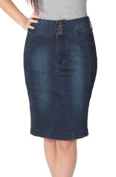 Classic Dark Denim Mid length Skirt from Dungarees-online.com ...