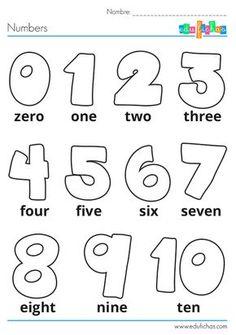 Ficha para aprender los números en inglés, para niños. #infantil #aprenderingles…