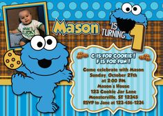 cookie monster birthday invitations for boys