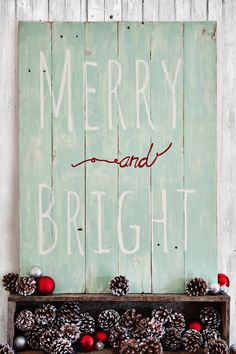 Merry and Bright old barn wood vintage sign from https://www.facebook.com/RubyLaneDesigns