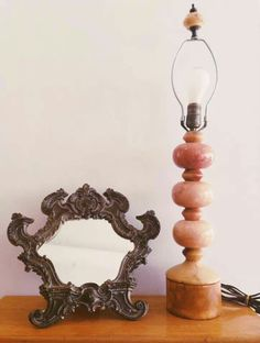 Vintage mirror and lamp