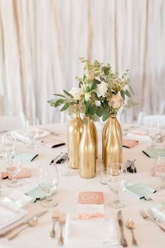 79 Inexpensive and Unique Summer-Themed Bridal Shower Ideas - VIs-Wed Gold and pastel Pensacola, Florida wedding. Wedding Reception Centerpieces, Bridal Shower Decorations, Wedding Reception Decorations, Wine Bottle Centerpieces, Wedding Wine Bottles, Beer Bottles, Pastel Wedding Theme, Wedding Colors, Pastel Weddings
