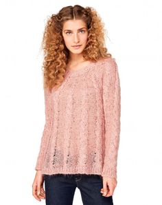 Cable sweater Pink - Women   Benetton