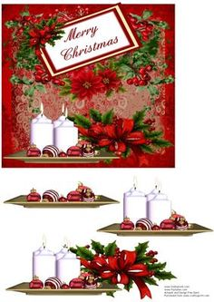 Merry Christmas Candles on Craftsuprint designed by Frances Dent - This colourful Christmas design in red with candles, baubles and poinsettias comes with one topper/card front with a sentiment tag and three decoupage pieces. Thank you for looking at my design and to view my other designs please click on my name. Enjoy. - Now available for download!