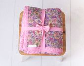 Chenille Baby Blanket/Floral Garden/Pink, Purple and Gray