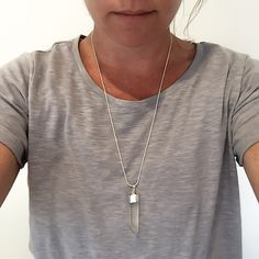 Raw Quartz Silver Dipped Necklace [MS07] $30.00   Indie & Harper