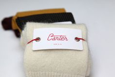 """""""With what seems to be a shortage in expressive mens boutique accessory brands, Carter socks is a brand concept reflecting a focus on quality materials, textures and individuality. Collateral Design, Identity Design, Vintage Typography, Typography Design, Uni Bag, Print Design, My Design, Graphic Design, Cardigan Bebe"""