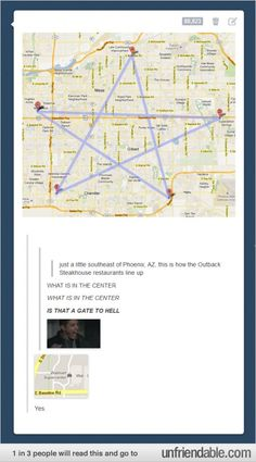 More hysterical Tumblr-ness. WHAT IS IN THE CENTER, A GATE TO HELL?!?! Yes, there is a Walmart. More or less the same, no?