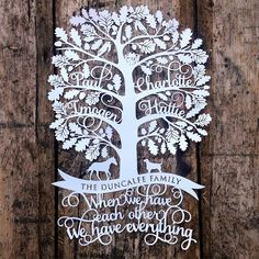 Personalised Family Tree Papercut Template Christmas Gift PDF Jpeg SVG from Samantha's Papercuts - Modern Paper Cutting Templates, Tree Templates, Printable Templates, Family Tree Template Word, Family Tree Designs, Personalised Family Tree, Pine Tree Tattoo, Tree Svg, Tree Silhouette