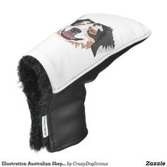 Illustration Australian Shepherd Golf Head Cover Golf Head Covers, Puppy Dog Eyes, Australian Shepherd Dogs, Dog Barking, Golf Accessories, Mans Best Friend, Dog Owners, Dogs And Puppies, Illustration