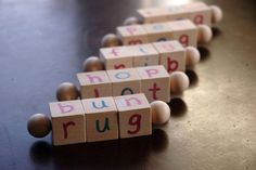 Montessori Phonetic Reading Blocks  by QualityMontessori on Etsy, $20.00 ( Loving the uniqueness of this toy)