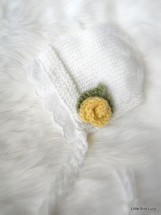 Knit Baby Hat White Lace Bonnet Knitted Newborn by LittleBirdLucy, $27.99