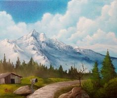 bob ross pathway by the mountain paintings