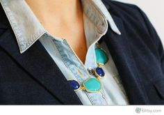 This necklace is super easy to make! All you have to do is connect beads with jump rings to create this blue statement necklace!