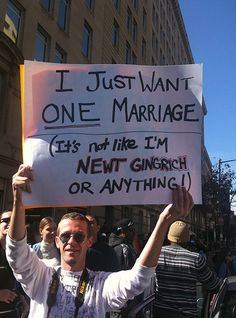 Funny Political Protest Signs: I Just Want One Marriage