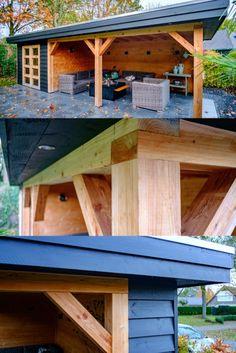 Outside Patio, Back Patio, Backyard Bar, Backyard Landscaping, Modern Patio Design, Garden Cabins, Gazebo Pergola, Building A Porch, Patio Shade