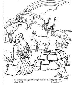 Noah Praying After The Great Flood Rainbow Gods Eternal Sign