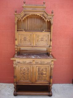 French Antique Gothic Furniture Antique Hutch Sideboard Server Buffet Cupboard