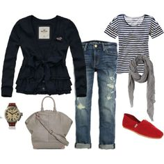 Casual spring outfit. Like the pop of red.
