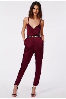 Maureen Silky Feel Strappy Wrap Jumpsuit Oxblood