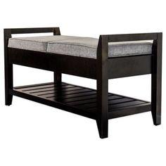 Upholstered Mahogany Wood Storage Bench - BedBathandBeyond.com Possible master bedroom bench?