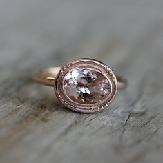 Recycled Sterling and Morganite Oval Halo Ring