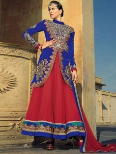 Royal Blue Velvet Anarkali Suit With Embroidery Work www.saree.com