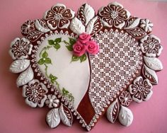 Gorgeous heart cookie Fancy Cookies, Sweet Cookies, Heart Cookies, Iced Cookies, Biscuit Cookies, Cupcake Cookies, Sugar Cookies, Yummy Cookies, Cupcakes