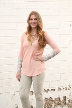 Need something new for the weekend? This peach hoodie is our new store fav! #fashion #shop #newarrivals #stripes #hoodie #moto #leggings #springfashion #ootd #fashionista #ogden #northogden #love #l4l #utah #utahboutique #musthave #shopbellame