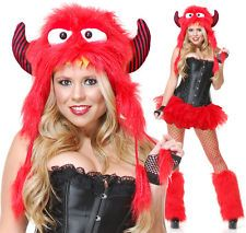 Adult Red Rave Monster Costume Furry Hood Hat ONLY