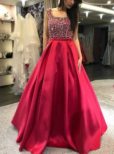 Ulass Cap Sleeves Prom Dress, Beaded Prom Dress, Backless Prom Dress, Red Prom Dress, Long Prom Dress 2018 · Ulass · Online Store Powered by Storenvy Red Satin Prom Dress, Long Gown Dress, Lehnga Dress, Beaded Prom Dress, Dress Red, Satin Gown, Beaded Top, Prom Dresses With Sleeves, Backless Prom Dresses